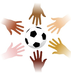 Hands around a soccer ball vector image