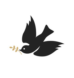 pigeon with a laurel branch religious sign vector image