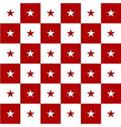 Star Red White Chess Board Background vector image vector image