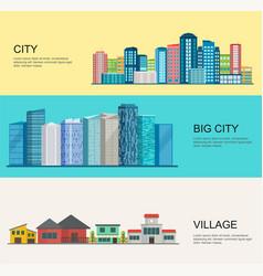 urban and village landscape big modern city vector image