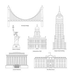 America Thin Line Art vector image vector image