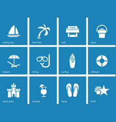 Beach icons on blue background vector image