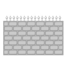 brick wall fence icon monochrome vector image