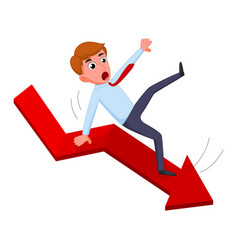 businessman falling from the red chart arrow vector image vector image