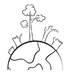 Clean forest on world hand draw vector
