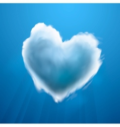 Cloud-shaped heart on a sky vector image