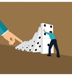domino effect hand finger push chain reaction vector image
