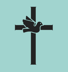 dove with cross religious sign vector image