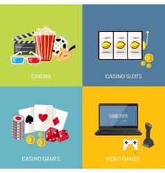 Games flat set vector image