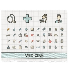 Medical hand drawing line icons doodle vector image