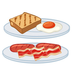 breakfast with egg and bacons vector image vector image