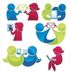 mail and phone communication vector image