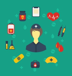 nurse with medical icons for web design modern vector image vector image