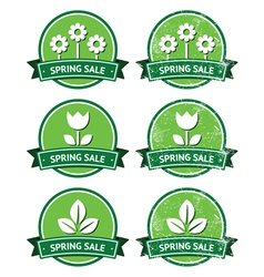 Spring sale retro green round labels - grunge vector image vector image