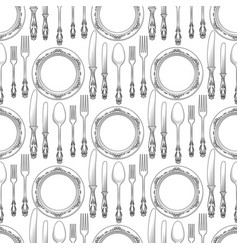 table setting seamless pattern vector image vector image