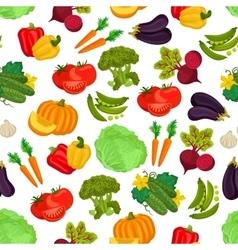 Vegetables seamless vegan pattern of flat icons vector image