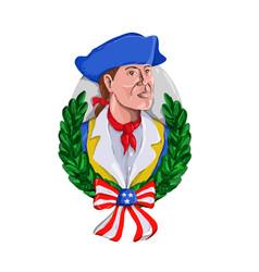 American patriot wreath watercolor retro vector