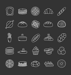 Bakery chalk icons set vector