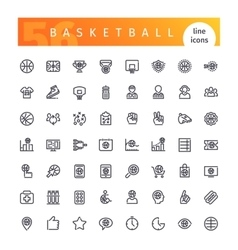 Basketball line icons set vector