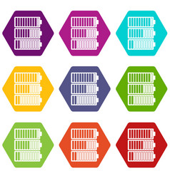 battery indicators icon set color hexahedron vector image