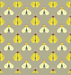 bee and firefly seamless pattern vector image
