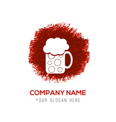 Beer mug icon - red watercolor circle splash vector