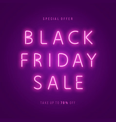Black friday sale neon web banner vector