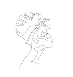 Black woman afro portrait female profile vector