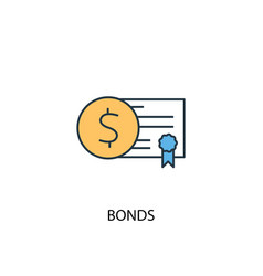 Bonds concept 2 colored line icon simple yellow vector