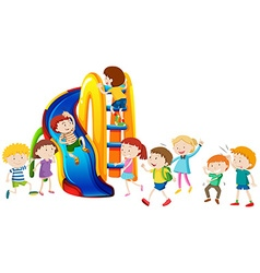 Boys and girls playing on slide vector image