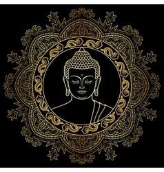 Buddha Head on Mandala Background vector image