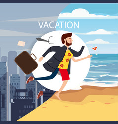 Businessman travels from winter to summer from a vector