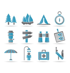 camping and tourism icons vector image