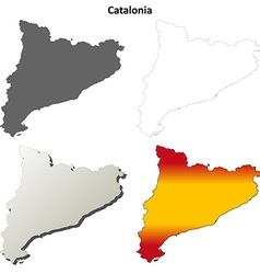 Catalonia blank detailed outline map set vector image