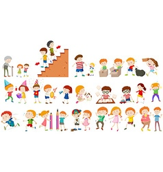Children doing different activities vector