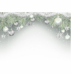 christmas background with branches and ornaments vector image