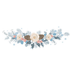 christmas border with fir branches beriies vector image