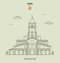church san pedro in gijon spain vector image