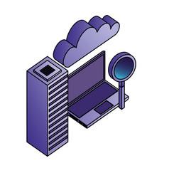 cloud computing laptop magnifying glass database vector image