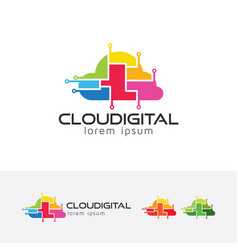 Cloud digital logo design vector
