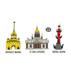 Collection famous buildings in saint-petersburg vector