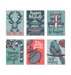 collection of six christmas greeting cards vector image