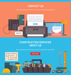 construction service tools and office accessories vector image