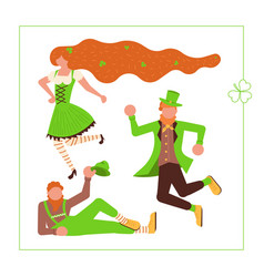 Cute cartoon leprechauns dancing vector