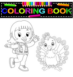 cute girl and peacock coloring book vector image