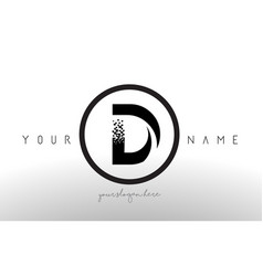 D logo letter with digital pixel tech design vector
