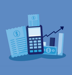 dataphone with set icons economy finance vector image