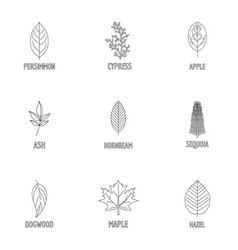 Deciduous icons set outline style vector