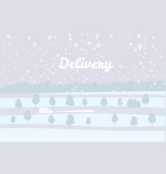 delivery truck rides on the snow-covered road vector image