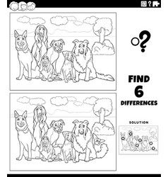 Differences game with comic purebred dogs color vector